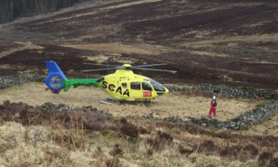 The helicopter landed in the footprint of an old croft ruin.