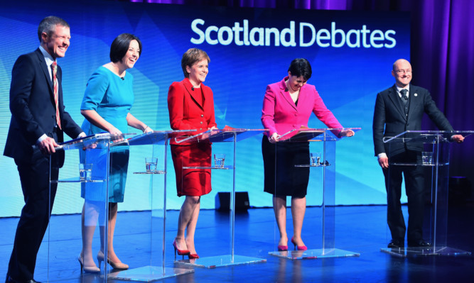 From left: Lib Dem Willie Rennie, Scottish Labour's Kezia Dugdale, SNP leader Nicola Sturgeon, Ruth Davidson of the Scottish Conservatives, and Patrick Harvie of the Scottish Greens at the STV election debate.