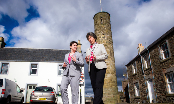from left: Scottish Conservative leader Ruth Davidson and candidate Liz Smith in Abernethy.