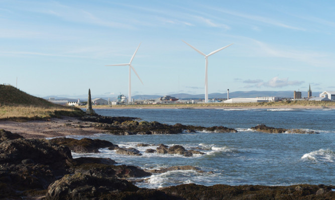 The view of the proposed Glaxo Smith Kline wind turbine from Scurdie Ness.
