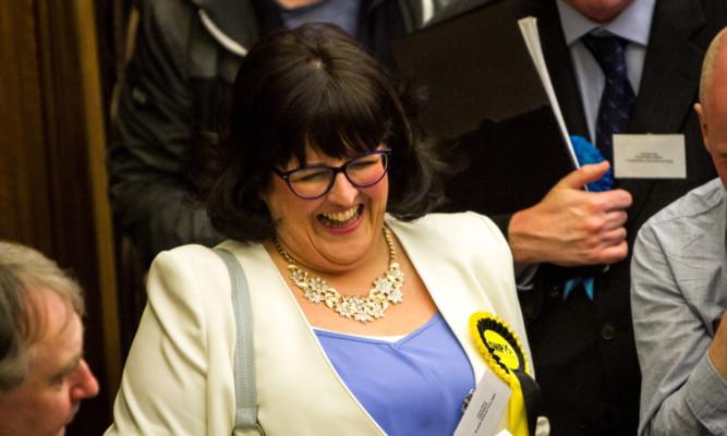 Lynne Short celebrates her win.