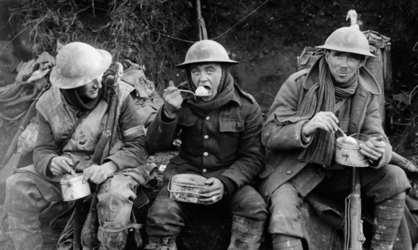 British soldiers eating rations during the Battle of the Somme in 1916.