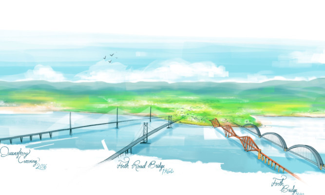 An artists impression by VisitScotland showing how the four bridges would look across the Forth, with the new rail bridge far right.