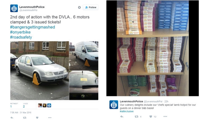 Some of the tweets used by Fife Police.