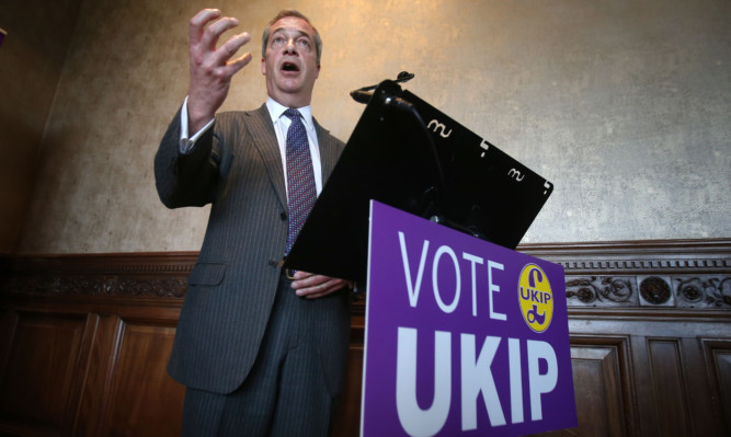 Ukip leader Nigel Farage at the B&B club in Edinburgh where he launched Ukip's Scottish Parliament election manifesto.