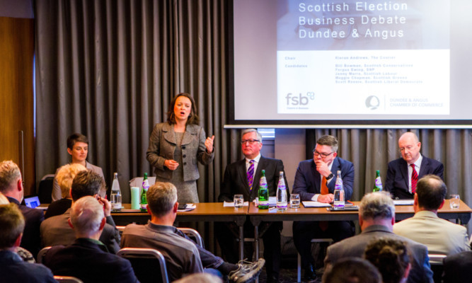 Maggie Chapman, Jenny Marra, Fergus Ewing, Scott Rennie and Bill Bowman at the Dundee hustings.