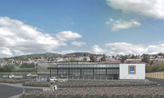 An artists impression of the proposed Aldi supermarket in Crieff.