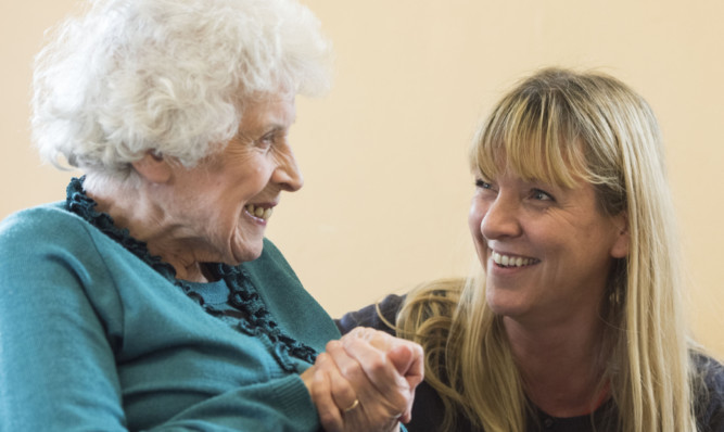 Manager Debi Wallace chats to Tilda Cavanaho who was celebrating her 93rd birthday at the centre on Friday.