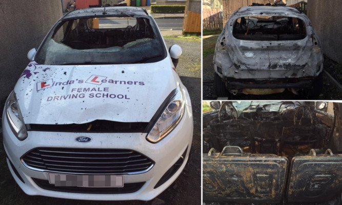 The £10,000 car was torched on Wednesday night.