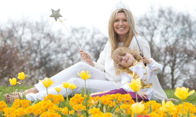 Actress Tina Hobley with her son Orson promoting this years Peter Pan-themed Big Toddle.