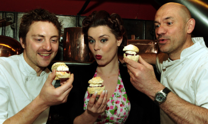 Gemma The Jam Girl McKechnie with chefs Graeme Pallister (left) of 63 Tay Street and Herve Tabourel of Pighalle.