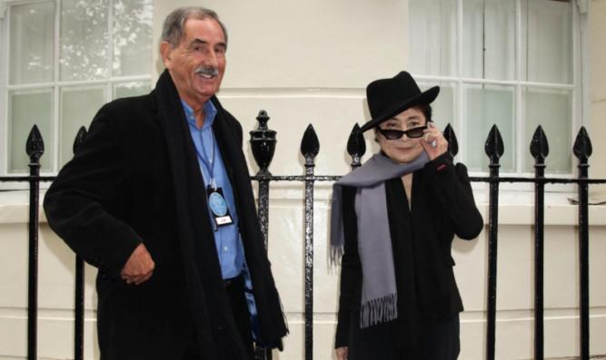 Hunter Davies with John Lennon's widow Yoko Ono.