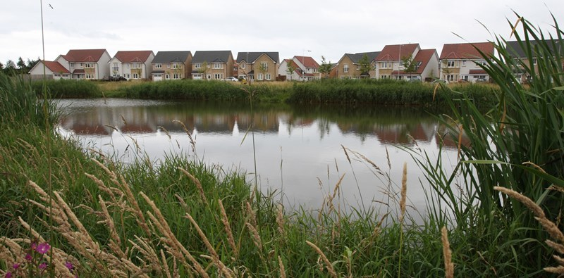 Kris Miller, Courier, 30/07/10, News. Picture today near Sir Thomas Elder Way, Kirkcaldy. Pic shows one of the drainage pond's on the housing estate where someone has been trying to build an area for fishing from after one of the ponds was stocked with fish.