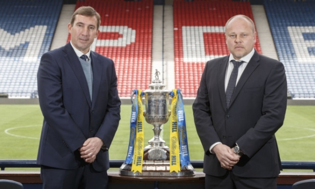 Hibs boss Alan Stubbs and Mixu Paatelainen during a photocall ahead will go head-to-head in the Scottish Cup semi-final.