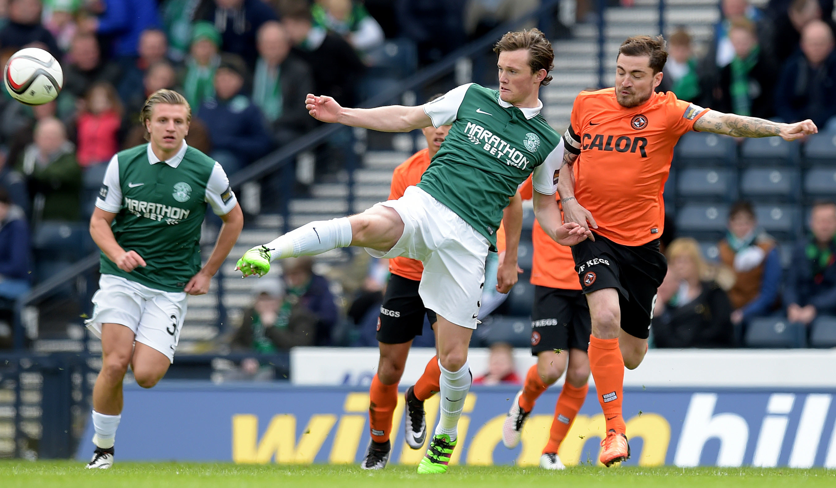 Liam Henderson gets the better of Paul Paton at Hampden.