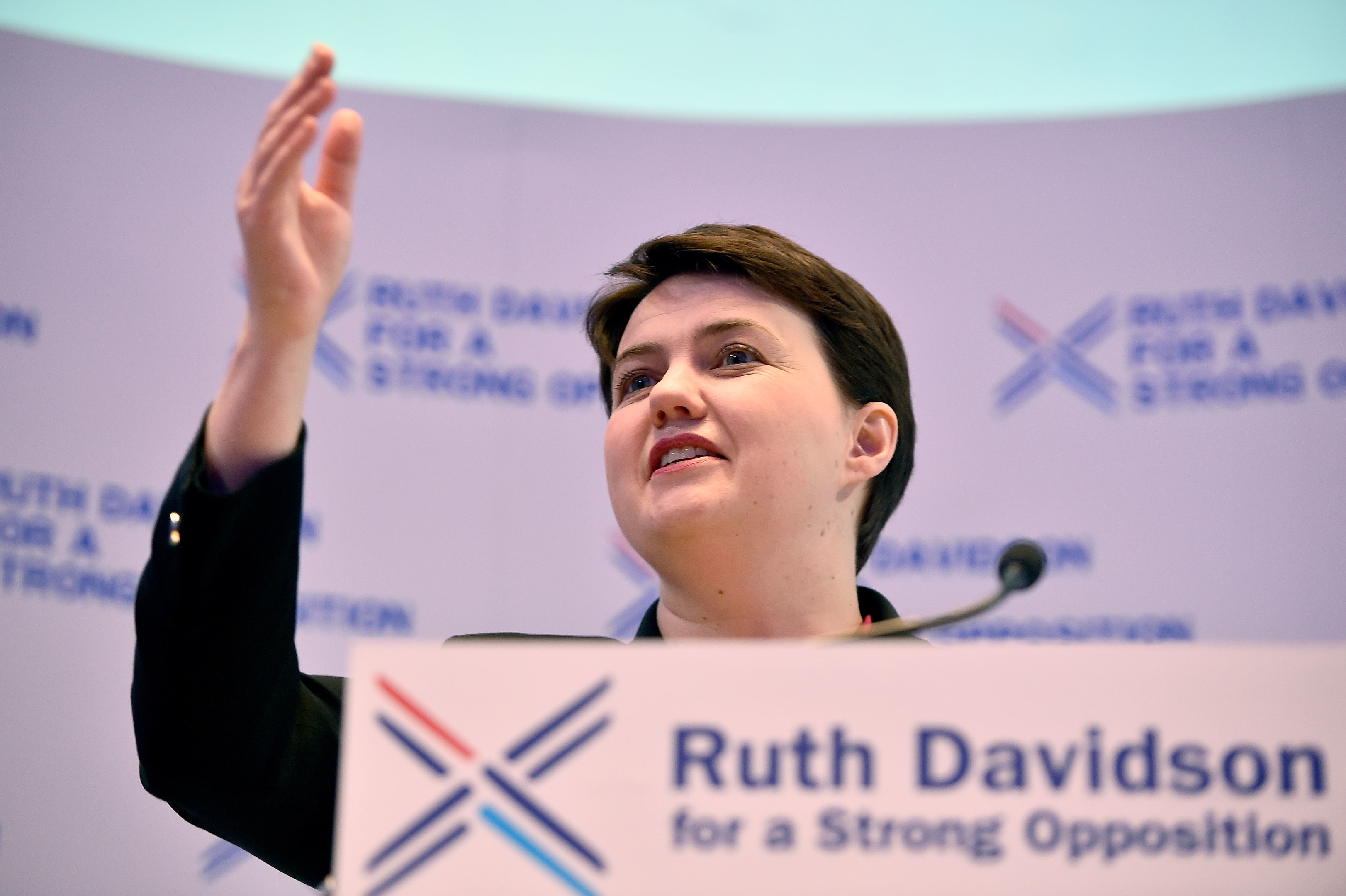 Ruth Davidson in front of her campaign slogan for the Scottish Parliament election