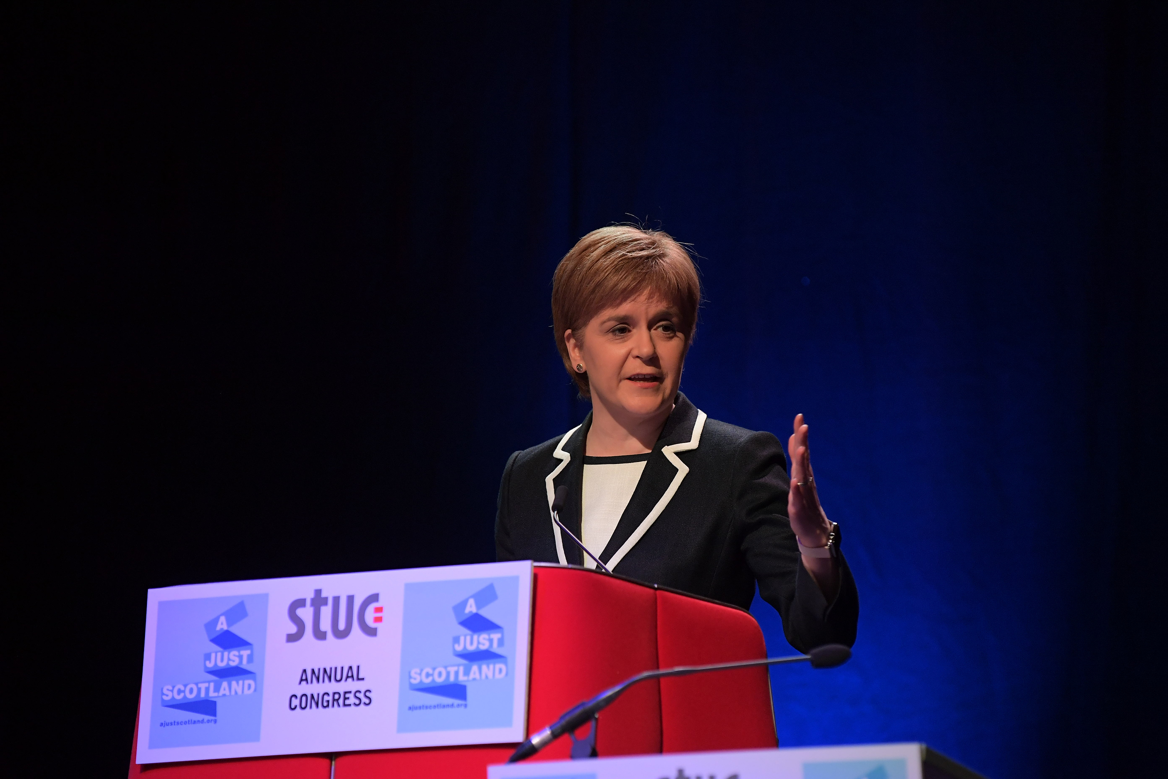 Nicola Sturgeon speaking at the STUC congress at the Caird Hall in Dundee.