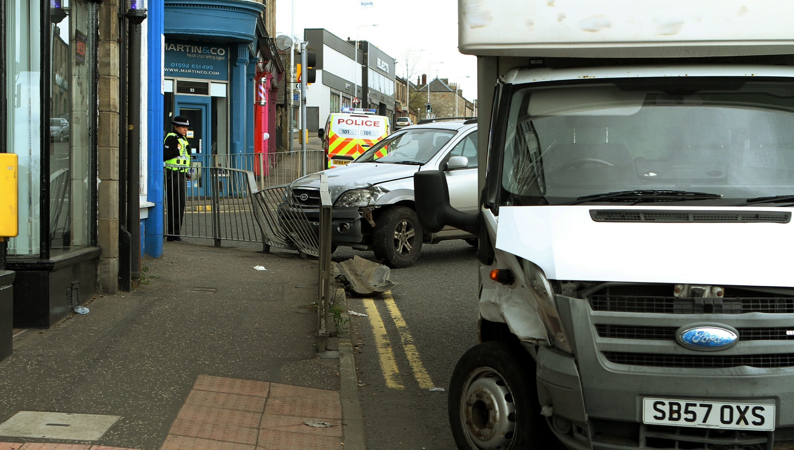 Pic shows the scene of the crash at the junction of Junction Road and St. Clair Street in Kirkcaldy.
