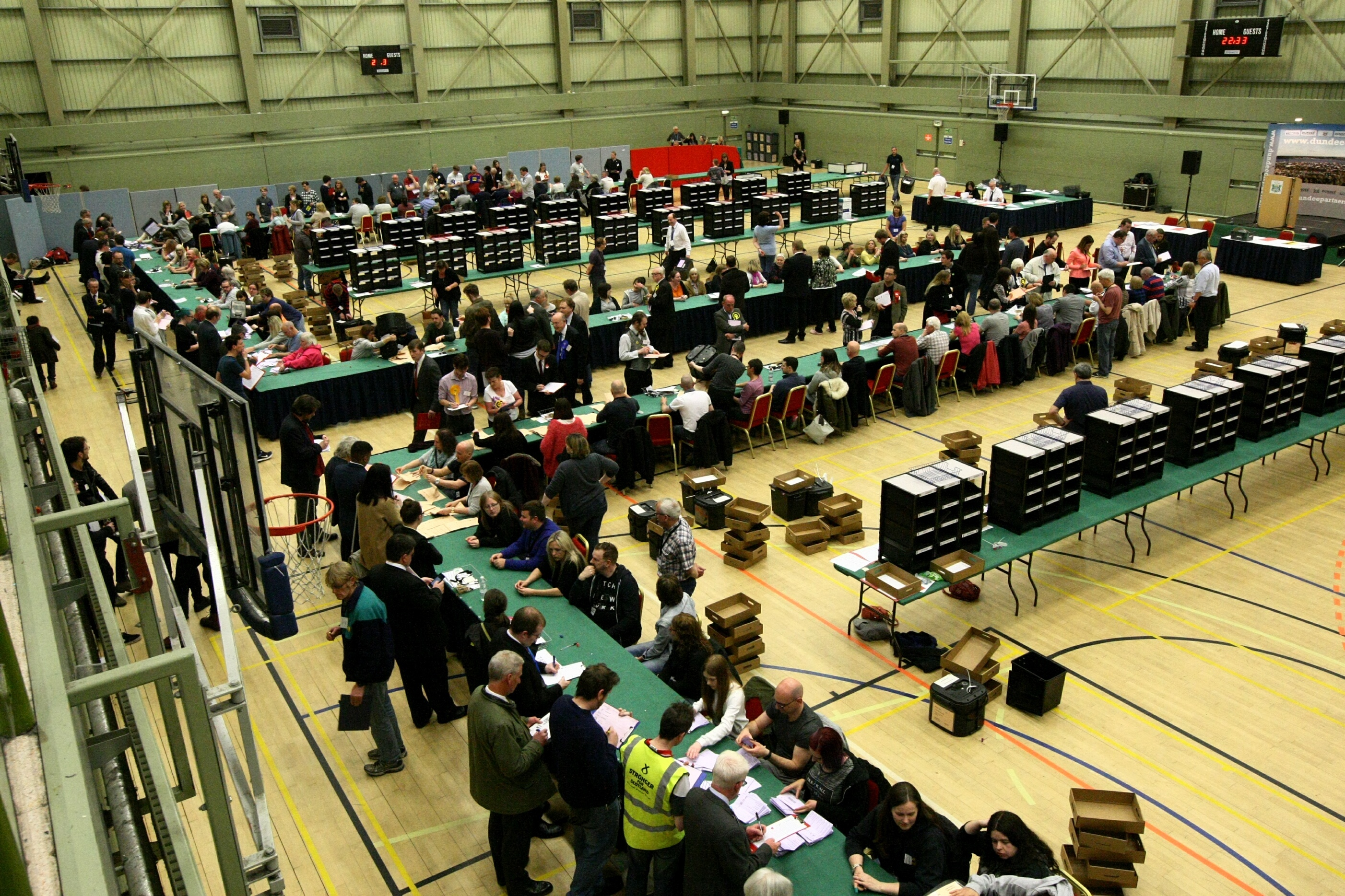 The election count at DISC in Dundee.