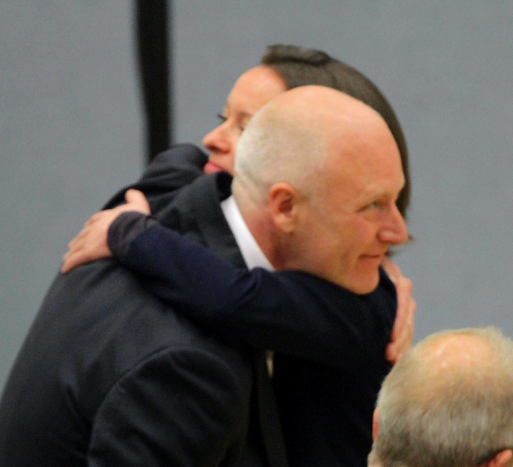 Joe FitzPatrick, pictured celebrating his election triumph in May, has been nicknamed 'Gerrymandering Joe'.