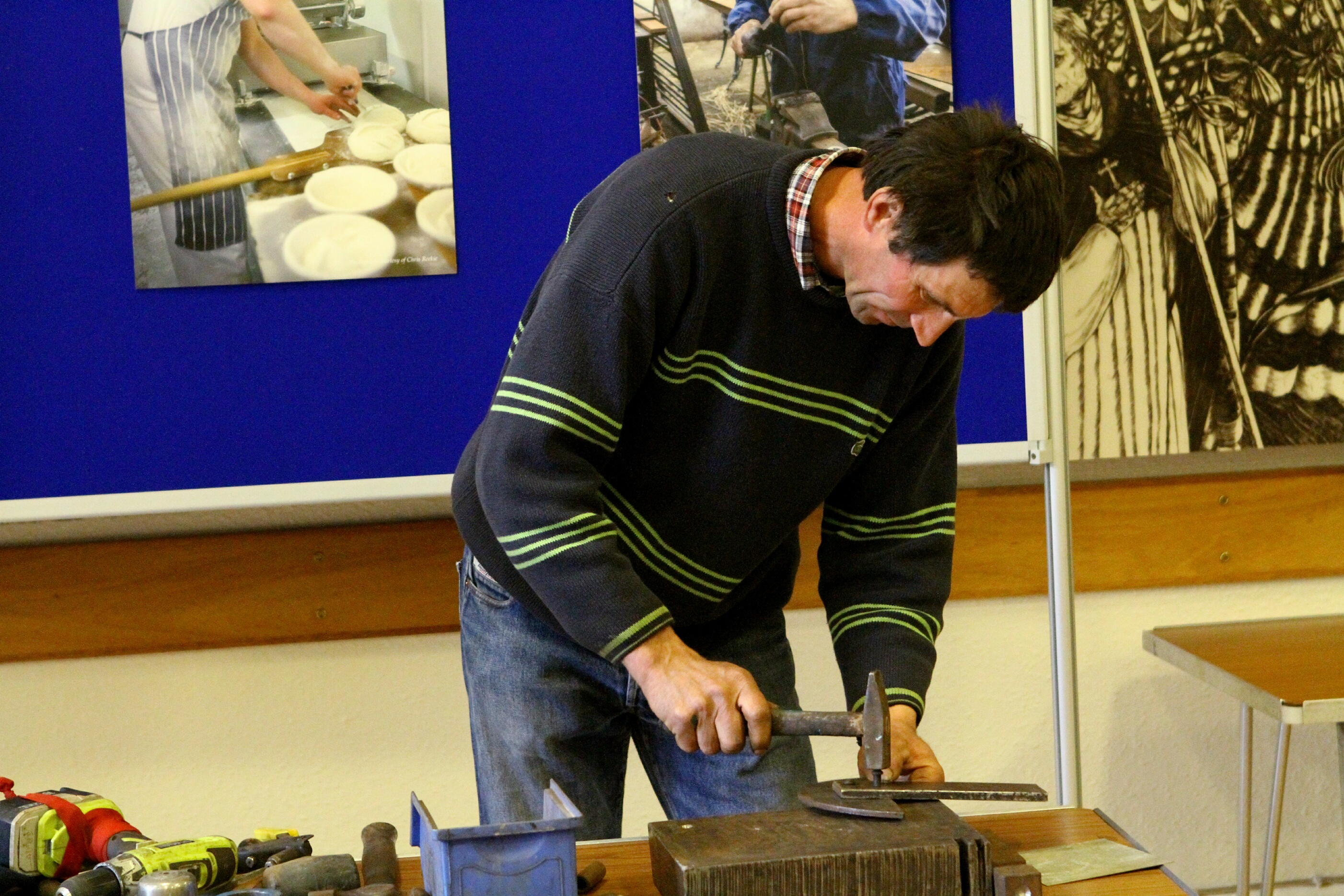 """Mihai Cocris demonstrates """"The Ancient Art Of Riveting"""" at the Craftsmen Of St. Andrews Past & Present."""