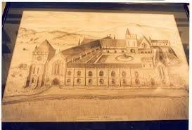 A centuries-old drawing of how Lindores Abbey, built in 1191, would have looked