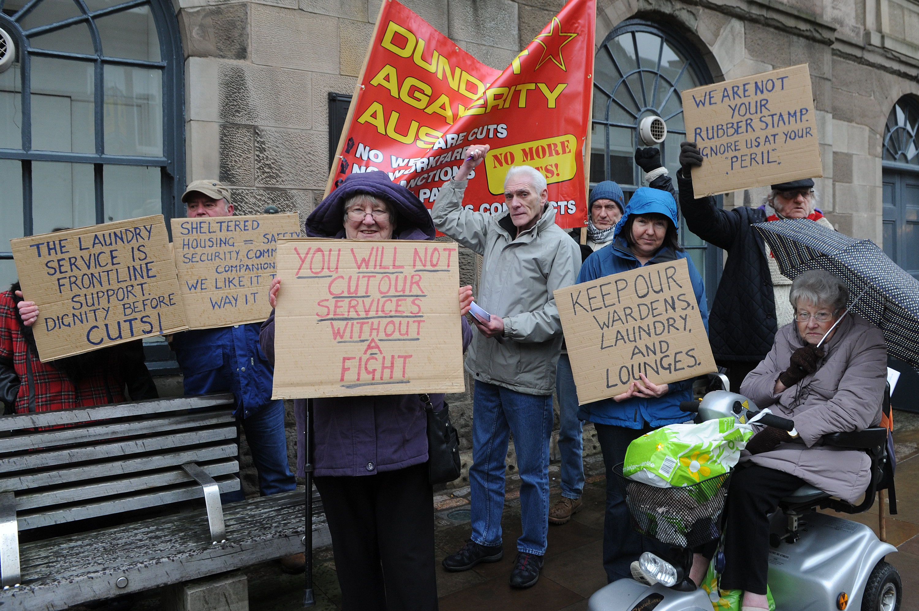 One of the previous protests involving sheltered housing residents outside the Angus Council Chamber in Forfar.