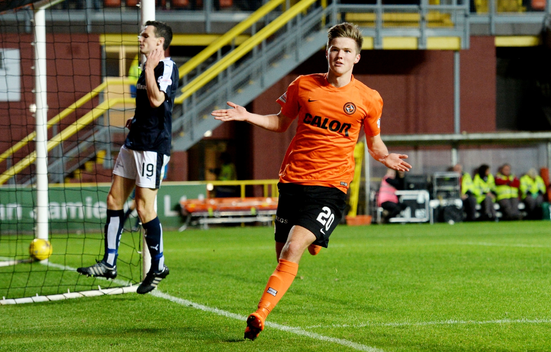Blair Spittal celebrates scoring against Dundee.