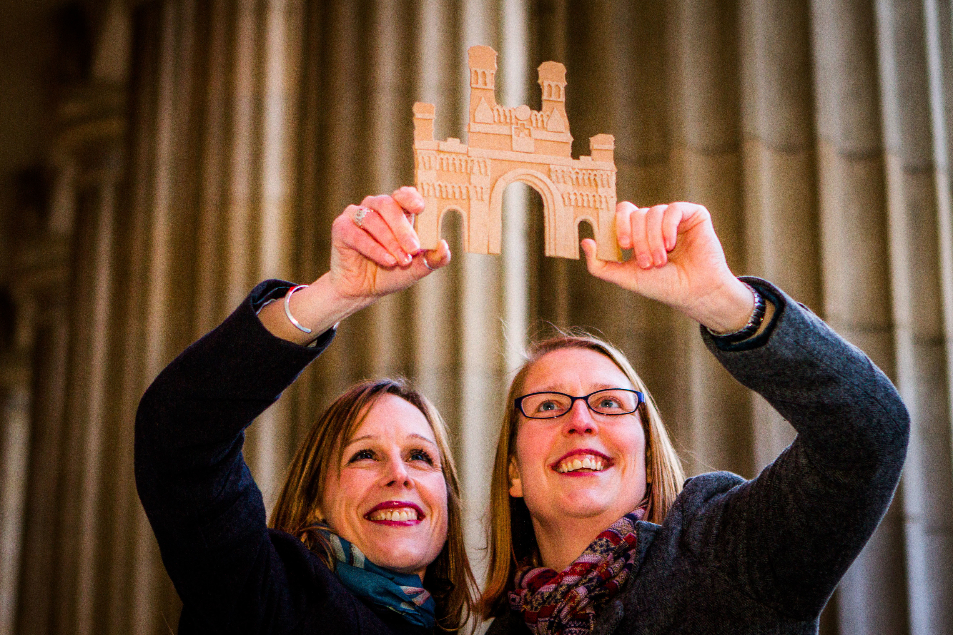 The Royal Arch will be recreated out of cardboard boxes on Slessor Gardens, alongside the V&A development. Pictured is a much smaller scale model of the Royal Arch with Christine Palmer (right, President of Dundee Institute of Architects) and Claire Dow (left, the event producer).