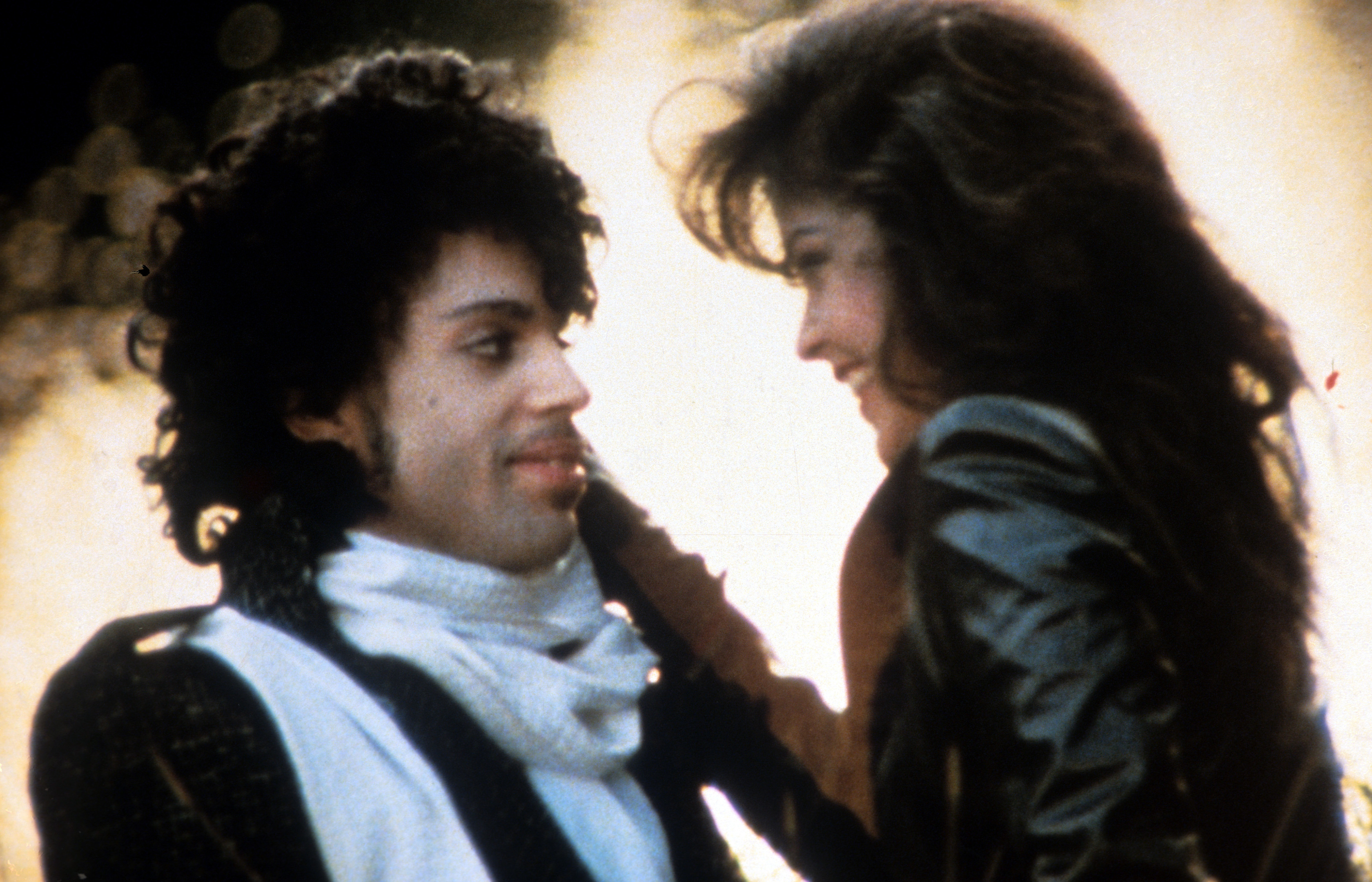 Prince embraces Apollonia Kotero in a scene from 'Purple Rain'.