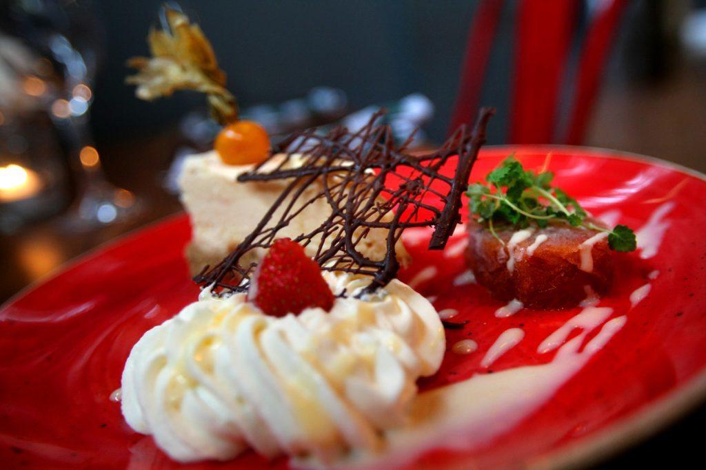 Rhubarb and pink pepper cheesecake.