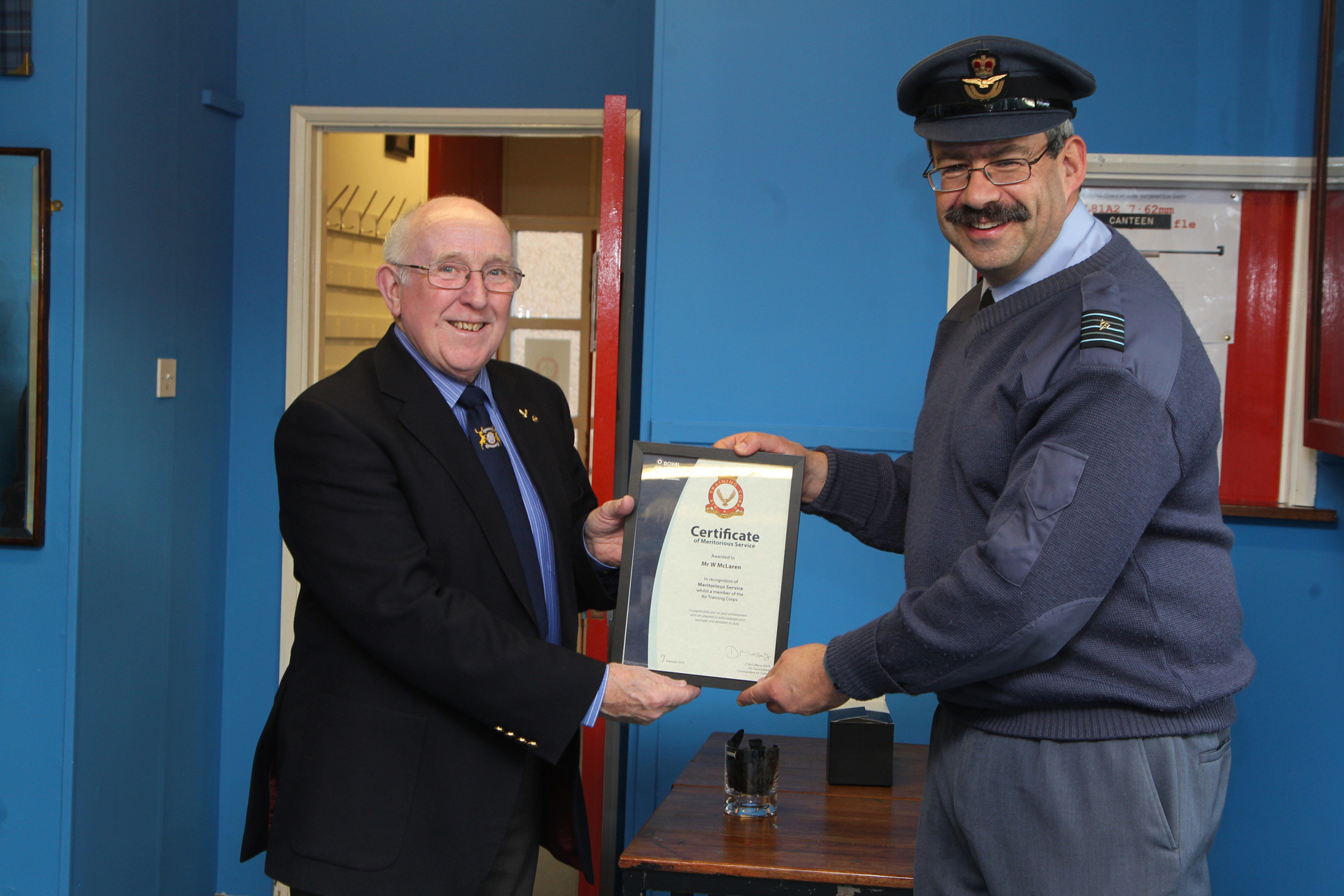 Forfar ATC present an award to Forfar baker Bill McLaren, of the famous town firm, for his stalwart support to 2231 Squadron over many years.