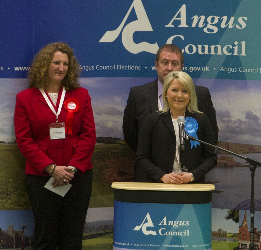 Kirstene Hair speaks after polling well in Angus South,