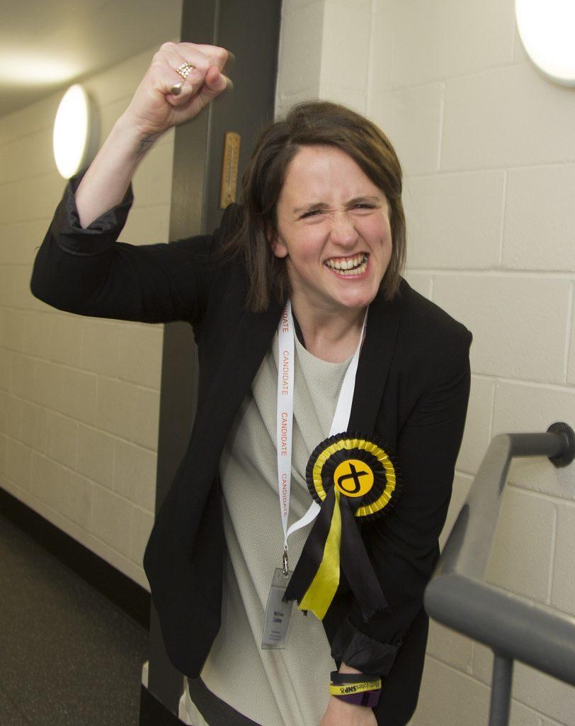 Mairi Evans celebrates.