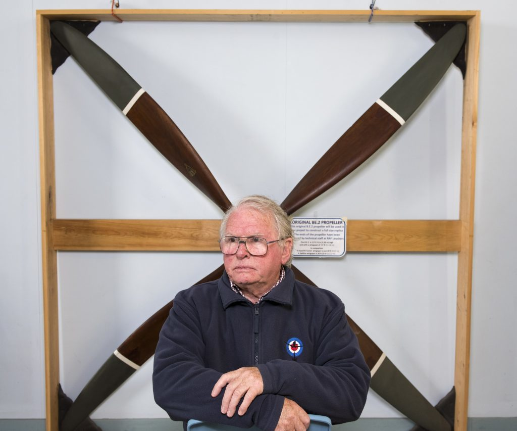 Dan Paton pictured with an original BE2a propeller which will be used on the replica plane.