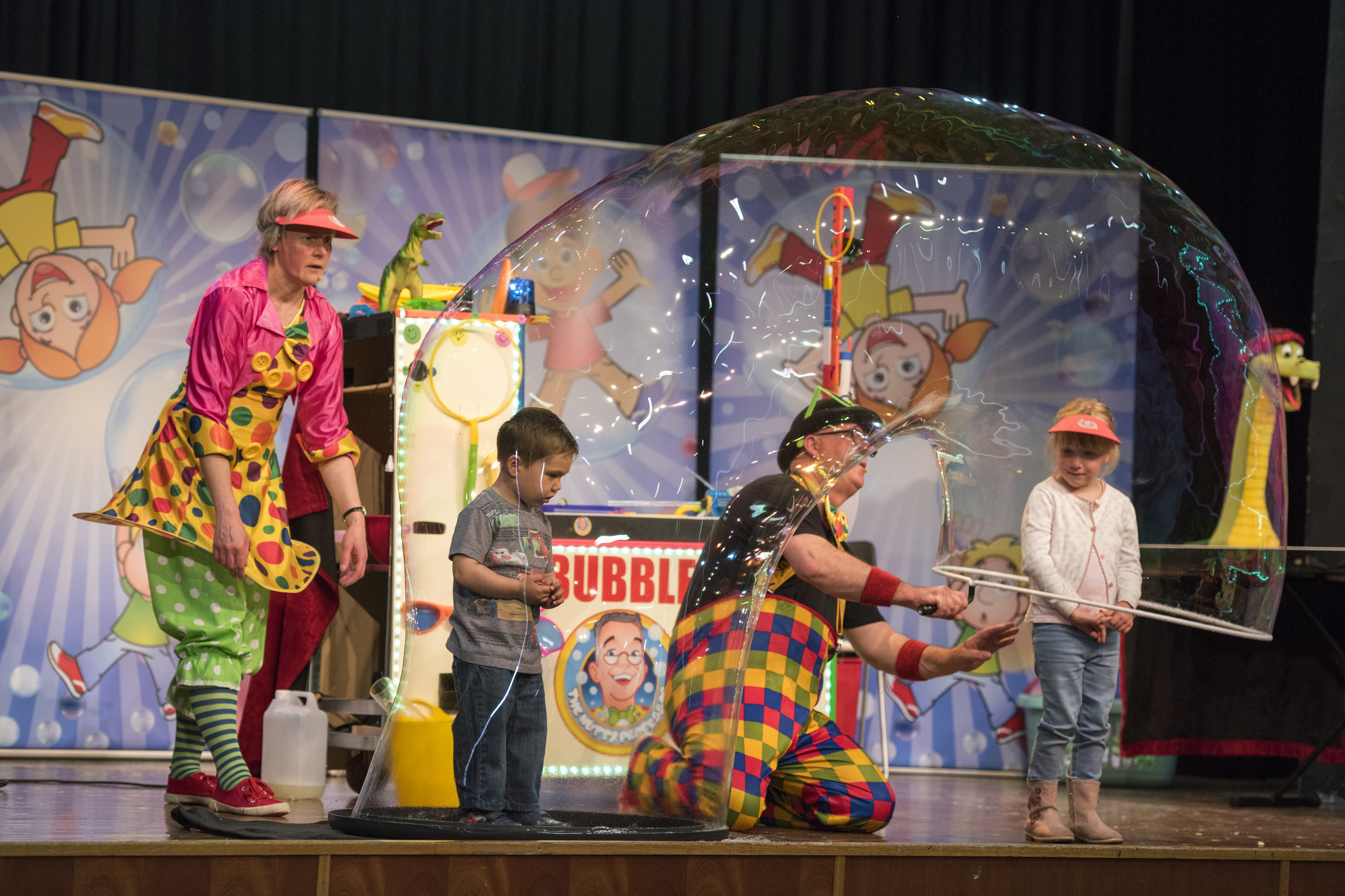 The Nutty Professor and his assistant Miss Squeaky Bottom on the Montrose Academy stage.