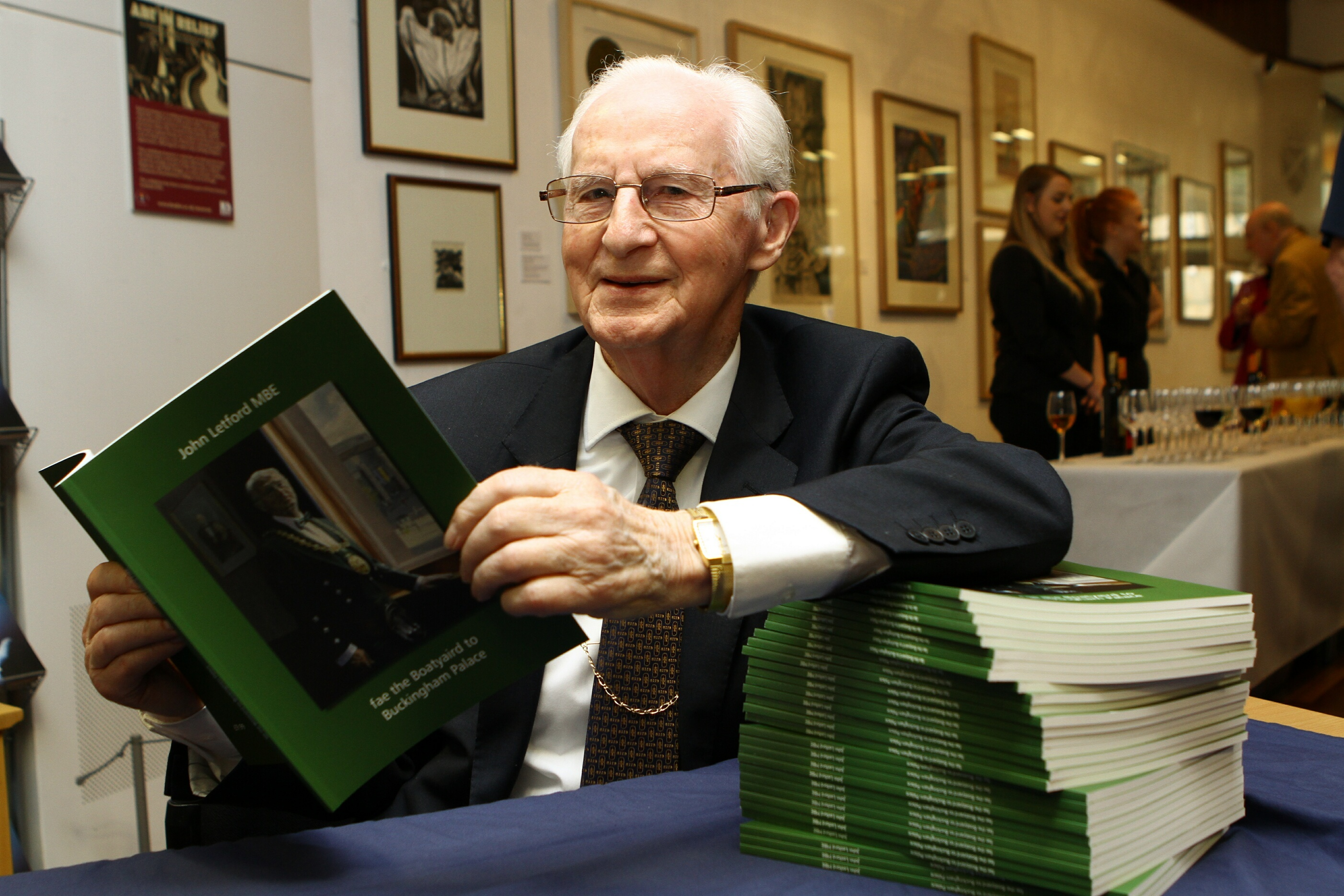 John Letford at the launch of his autobiography Fae The Boatyaird To Buckingham Palace.