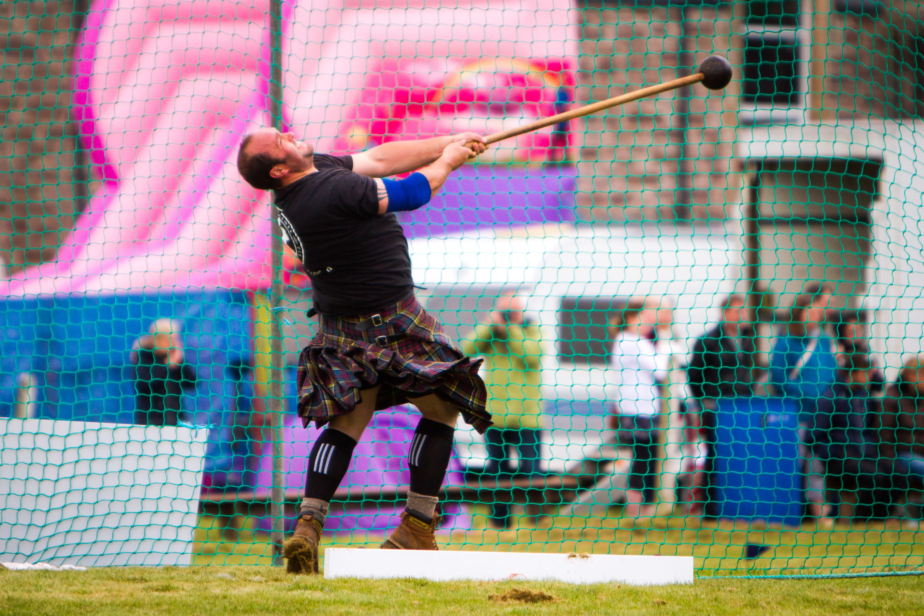 Stuart Anderson from Lochearnhead during the hammer throw at Blackford Highland Games