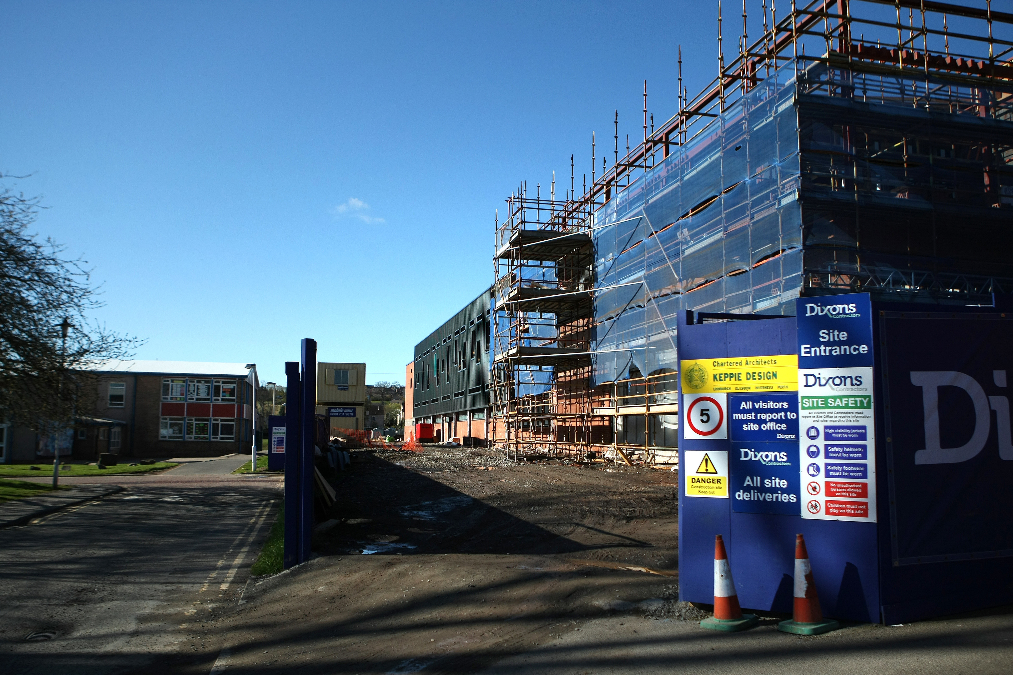 The sports academy under construction in the grounds of Perth College.