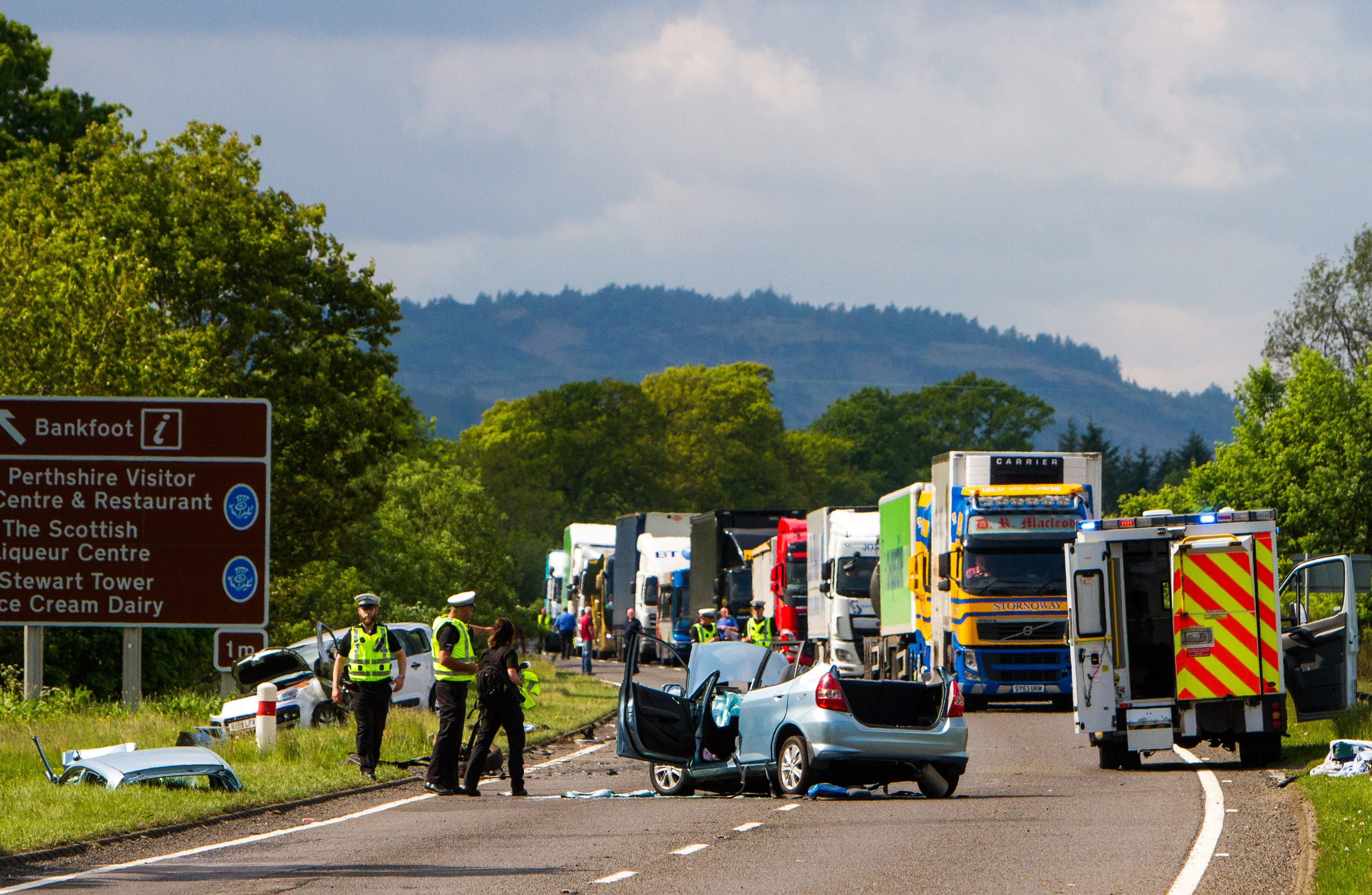 Emergency services at the scene of the crash on the A9.