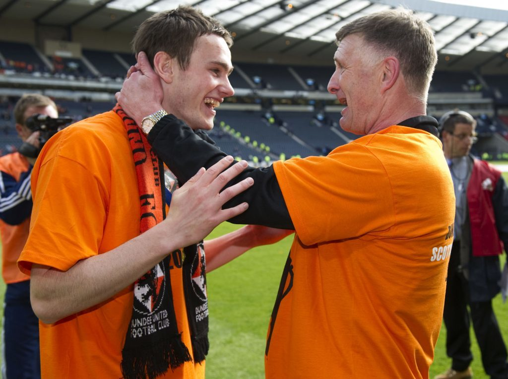 Keith Watson celebrates Scottish Cup glory with Dundee United in 2010.