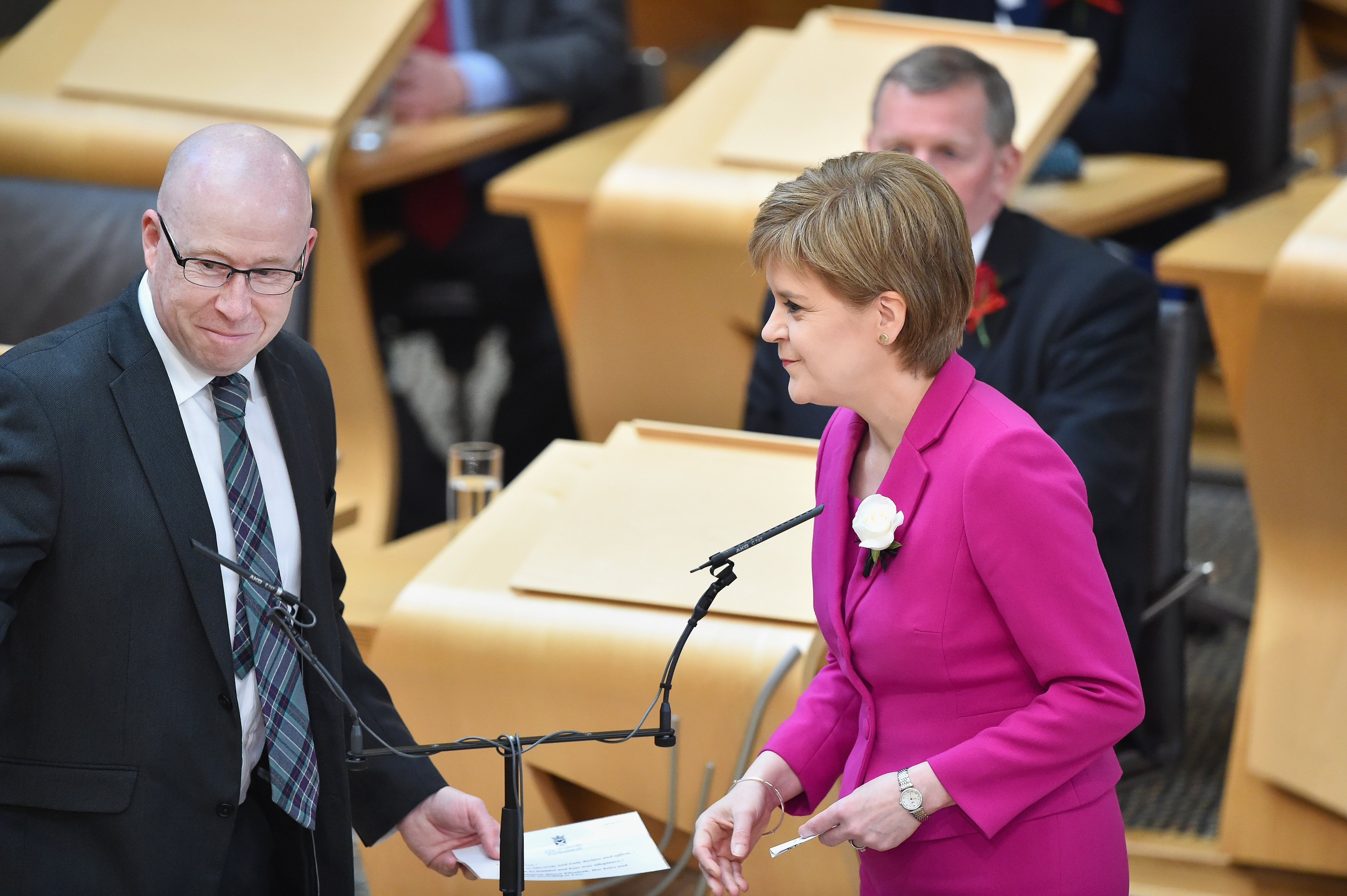 First Minister Nicola Sturgeon is sworn in for the fifth session of the Scottish Parliament.