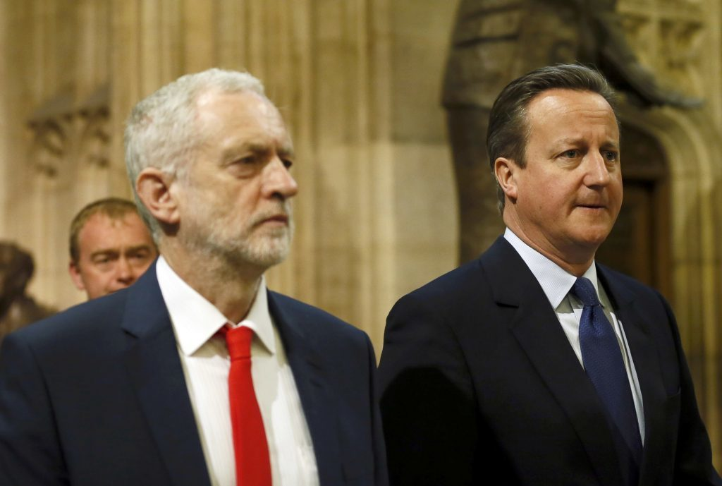 LONDON, ENGLAND - MAY 18: Prime Minister David Cameron (R) and Labour Party leader Jeremy Corbyn (R) walk to the House of Lords for the State Opening of Parliament at the Palace of Westminster on May 18, 2016 in London, England. The State Opening of Parliament is the formal start of the parliamentary year. This year's Queen's Speech, setting out the government's agenda for the coming session, is expected to outline policy on prison reform, tuition fee rises and reveal the potential site of a UK spaceport. (Photo by Stefan Wermuth - WPA Pool/Getty Images)