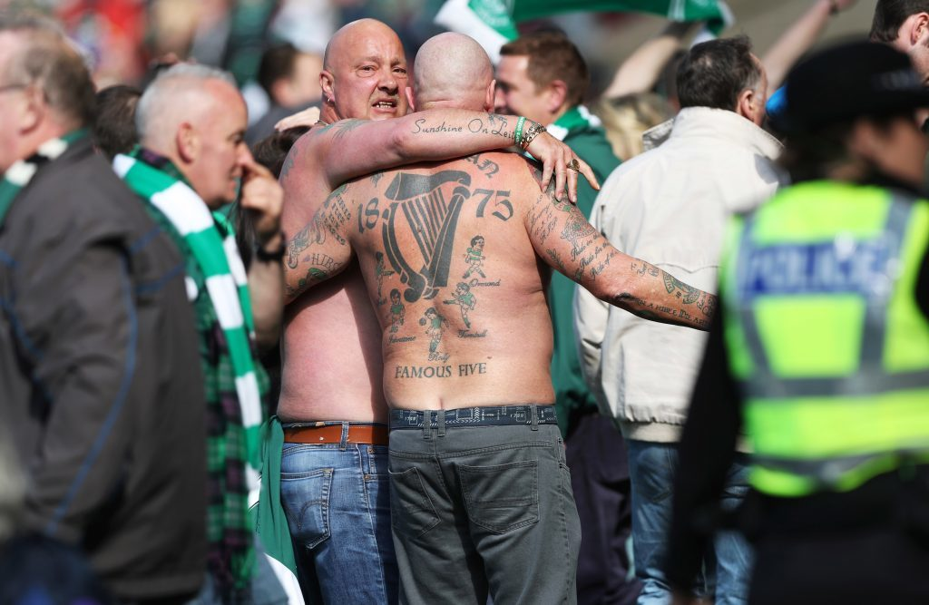 GLASGOW, SCOTLAND - MAY 21:  Hibs fans invade the pitch during the Scottish Cup Final between Rangers and Hibernian at Hampden Park on May 21, 2016 in Glasgow, Scotland. (Photo by Ian MacNicol/Getty)
