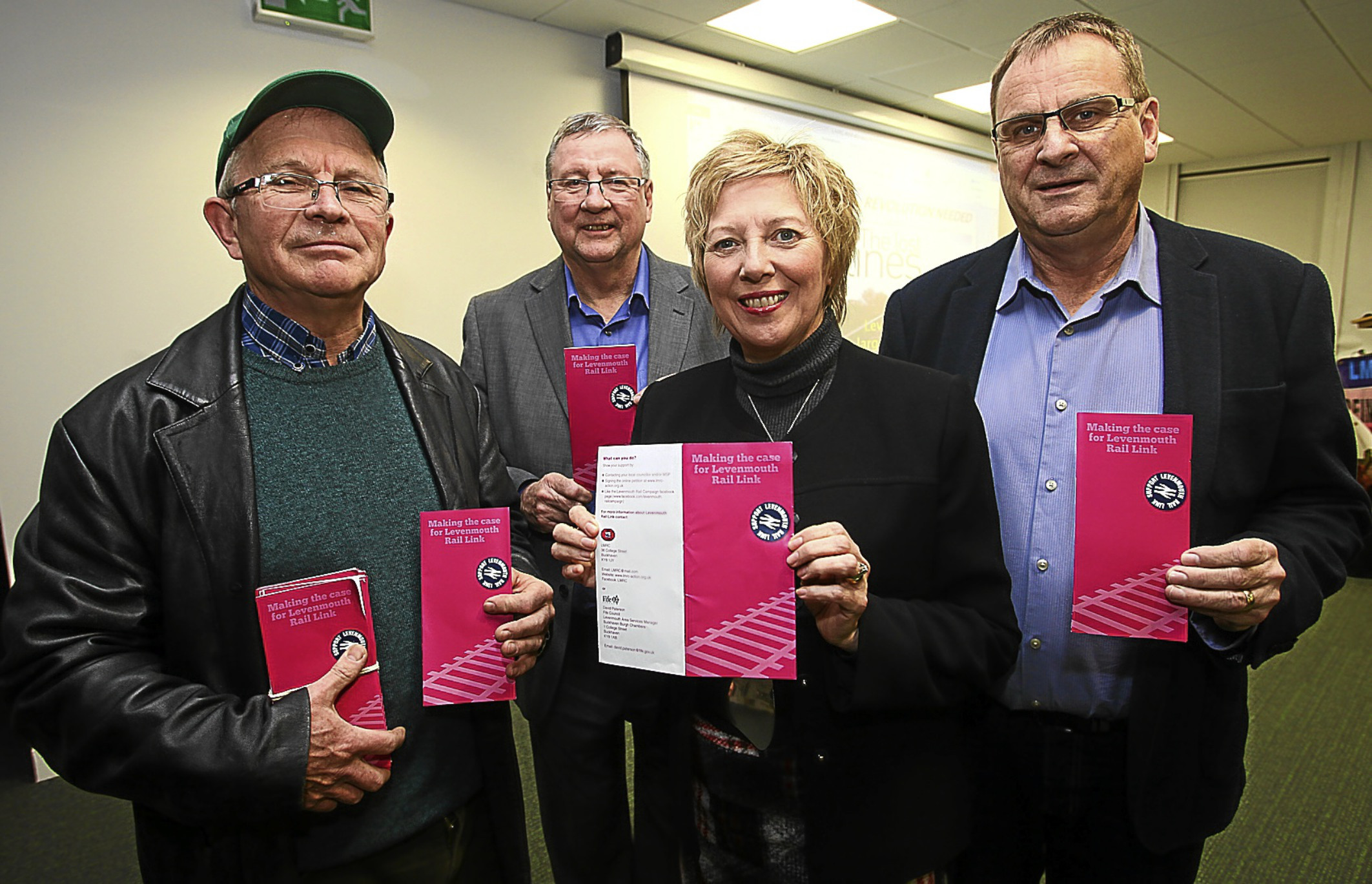 Cllr Lesley Laird with Levenmouth Rail Campaign secretary Dr Allen Armstrong, chairman Eugene Clarke and treasurer Ross Bennett.