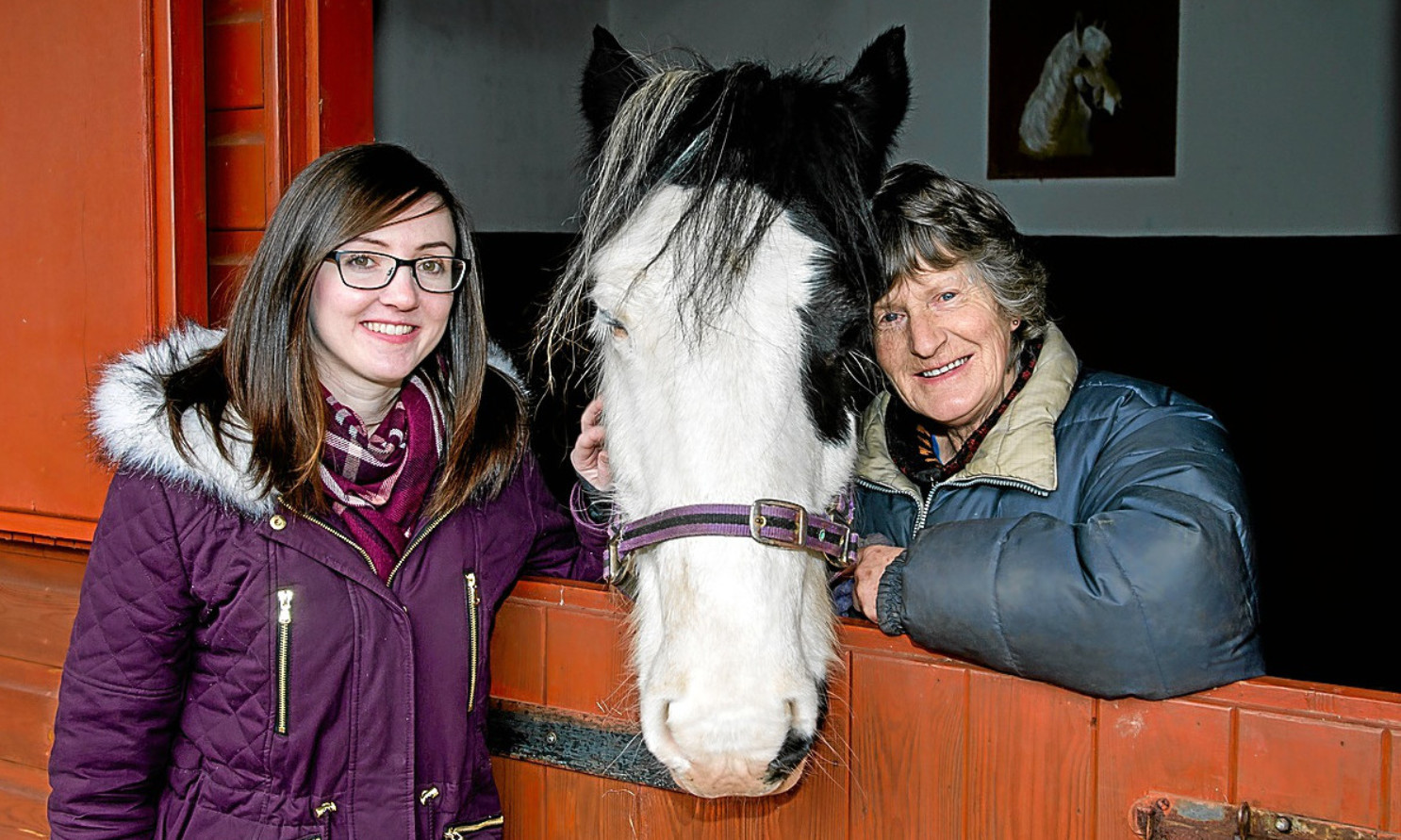 Elaine Taylor from Amazon Dunfermline with Yvonne Watson from Shiresmill Therapy Centre and Gypsy the horse.
