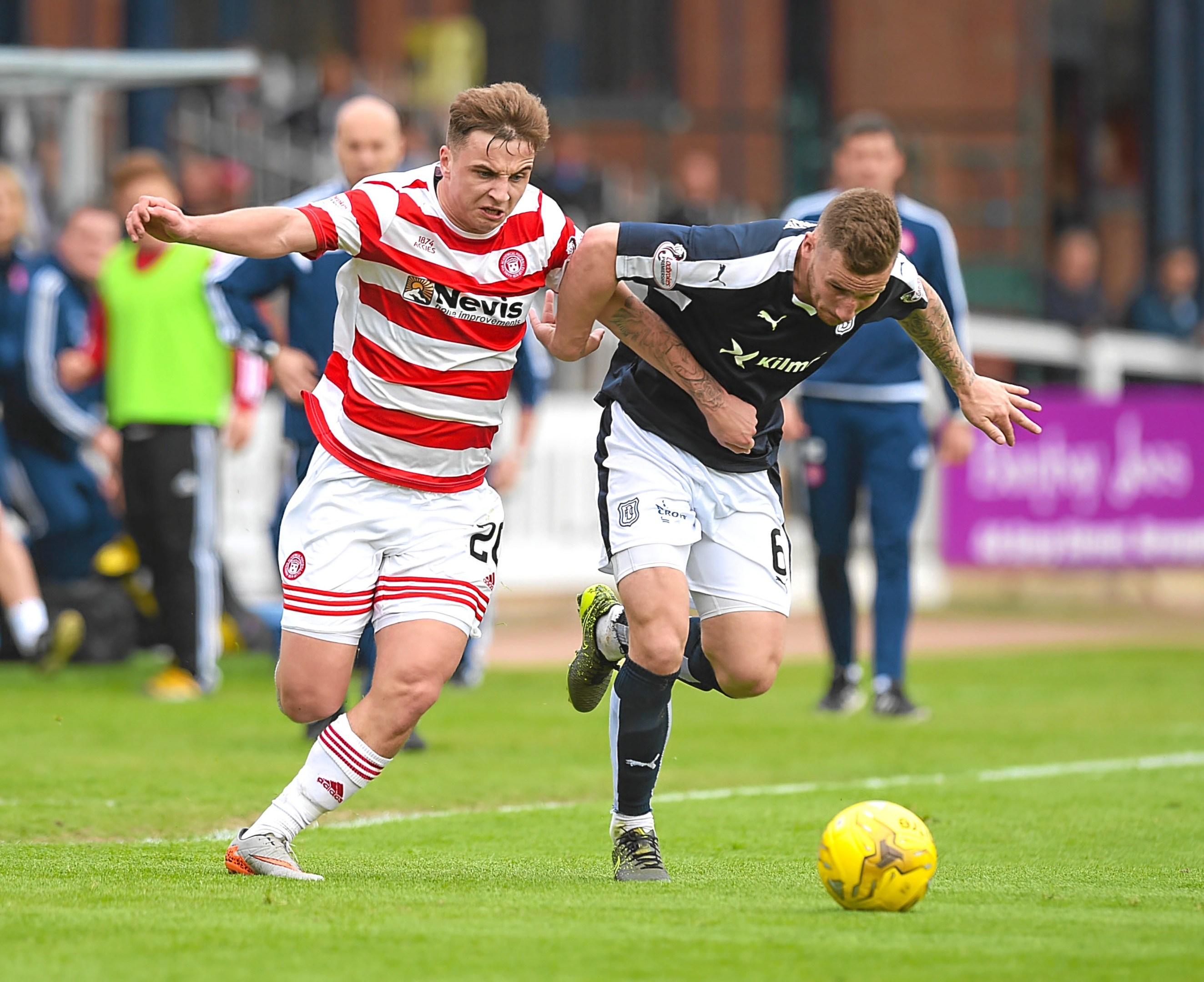 Hamilton's Eamonn Brophy (left) and Dundee's Daryll Meggatt.