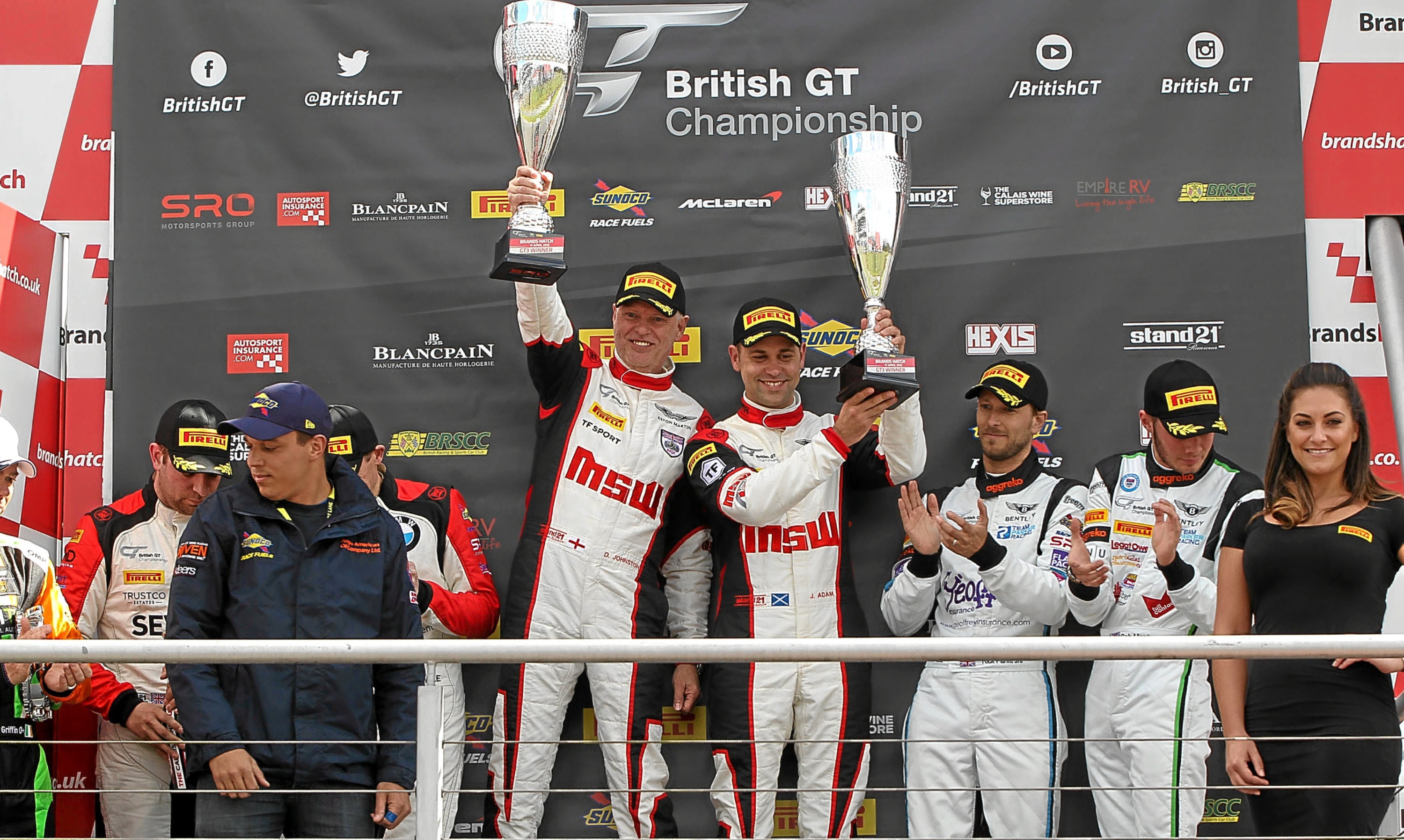 Jonny celebrated his Brands Hatch win.