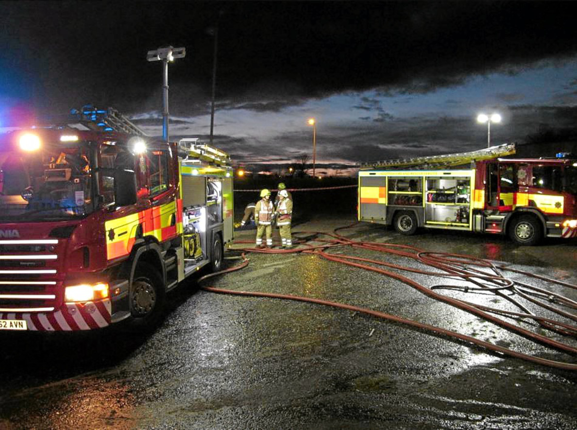 Firefighters attend at the derelict Whitfield Shopping Centre. It has been repeatedly targeted by fire-raisers.