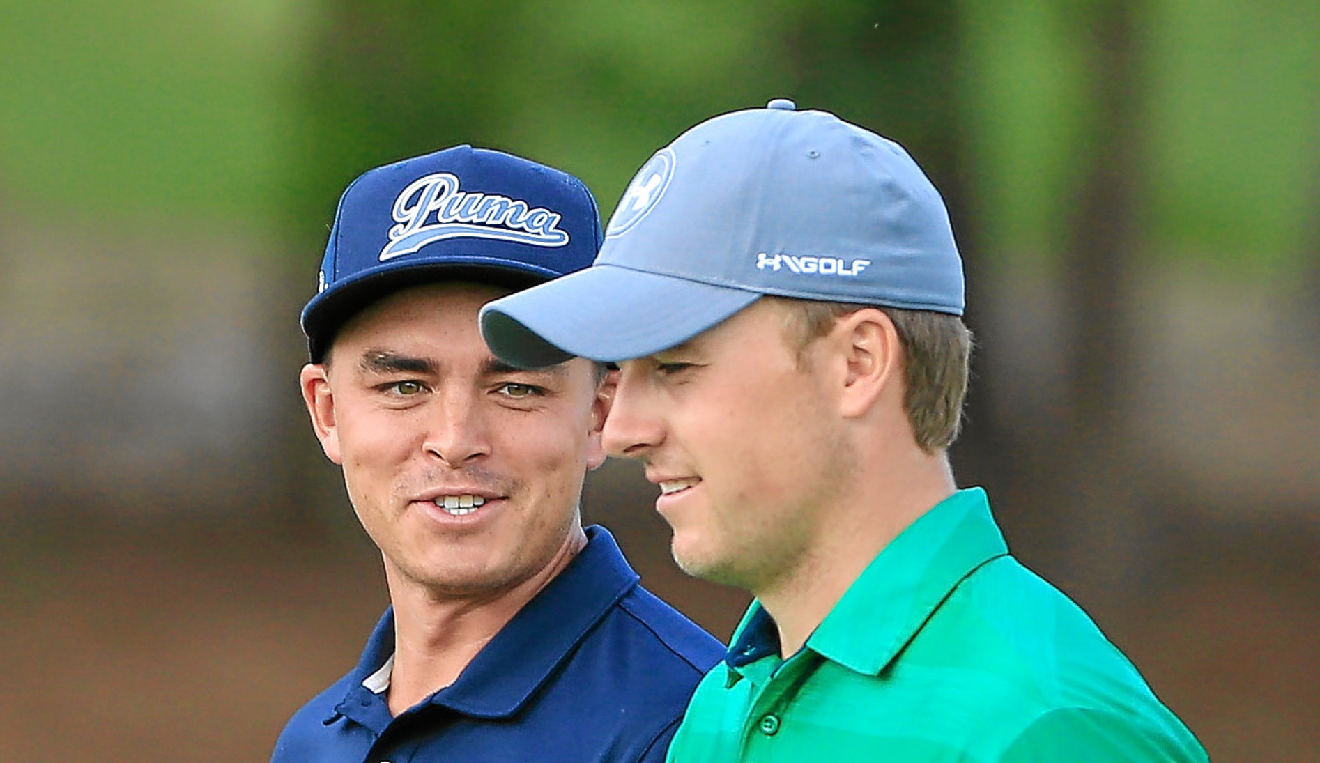 Rickie Fowler and Jordan Spieth during a practice round at TPC Sawgrass.